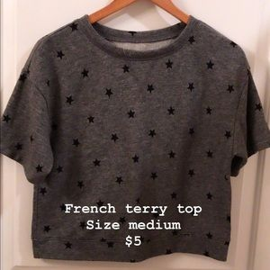 French terry all over print top